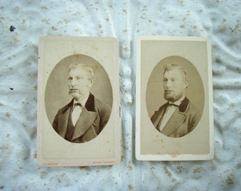 Antique Victorian Cabinet Photos Pair Man with Mustache and then a Beard Curiosity Cabinet Photograph