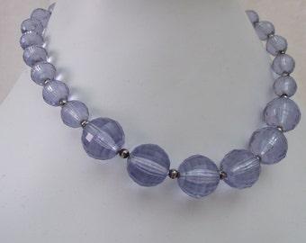 Bubblegum Vintage Beaded Necklace Earring Set Lilac Purple Plastic 1960s