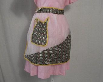 1950s Half Apron Kitchen Apron Penny Sherman Garments NOS