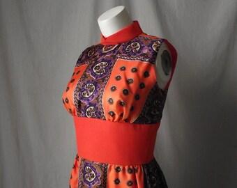 1970s Orange Maxi Dress Thigh High Slit Small Medium