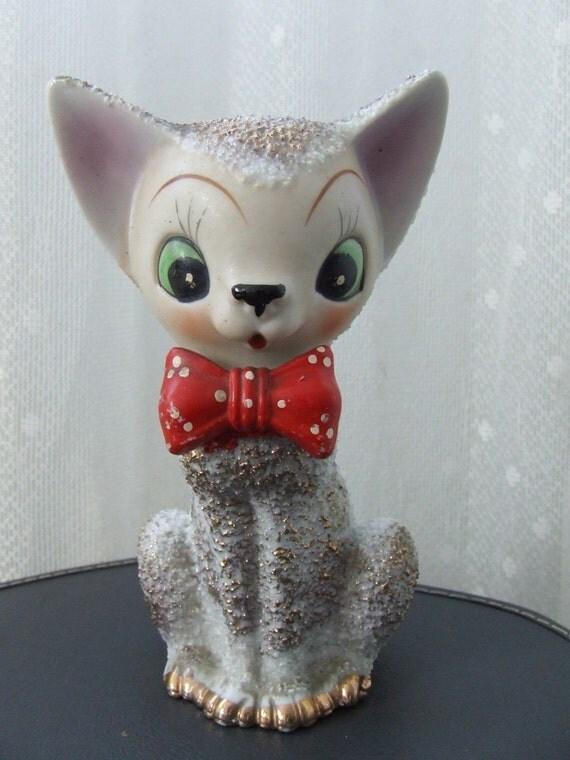 Ceramic Cat Kitten Spaghetti Fur Red Bow Tie Gold Japan
