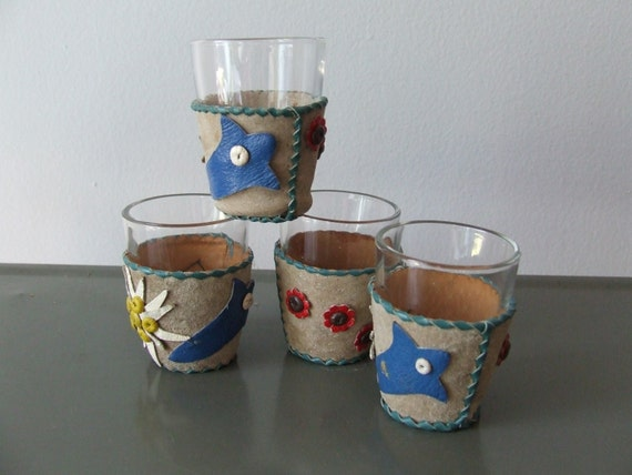 Set of Four Shot Glasses Leather Covers Red Yellow Blue Folk Art
