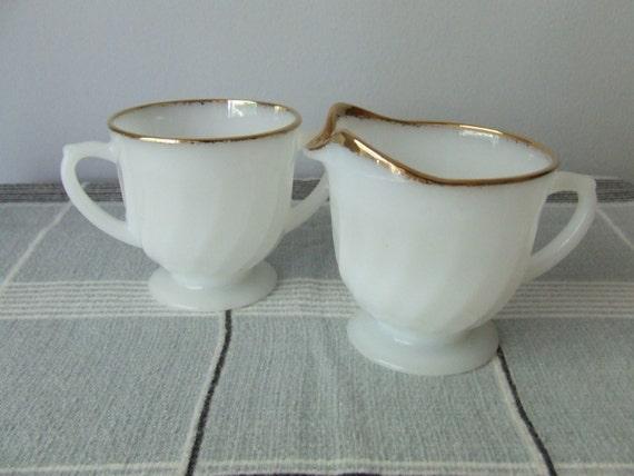 Fire King Creamer Sugar Set 50th Anniversary White Milk Glass Gold Rim
