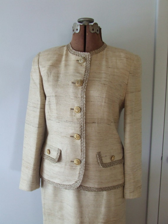 Vintage Suit  Herbert Grossman Designer Silk Two Piece Ladies Suit Jacket Skirt Small nos with Tags