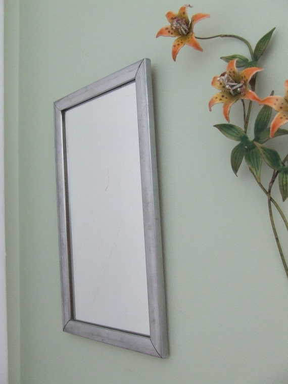 Last Look Small Vintage Silver Metal  Frame Mirror