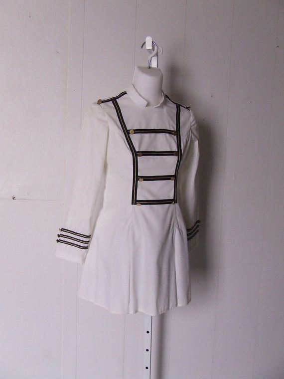 Vintage Band Majorette Uniform White And Navy Mini Dress Blue