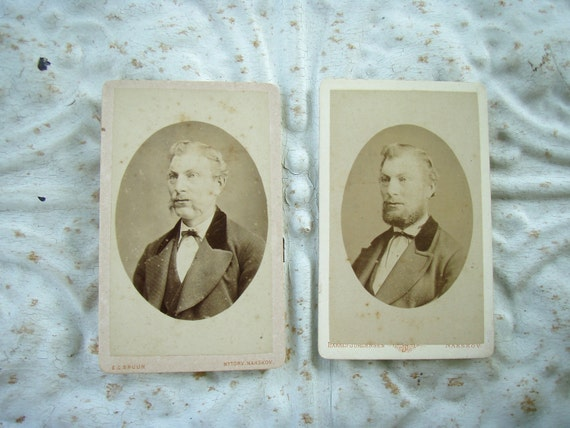 Antique Victorian Cabinet Photos Pair Man with Mustache and then a Beard