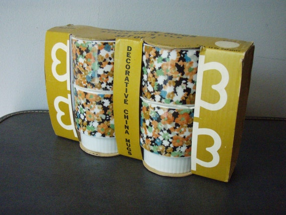 Vintage Porcelain Stacking Mugs 1970s Double Finger Handle Floral Flower