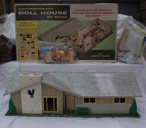 Vintage Doll House Metal Marx Mid Century Modern Ranch With