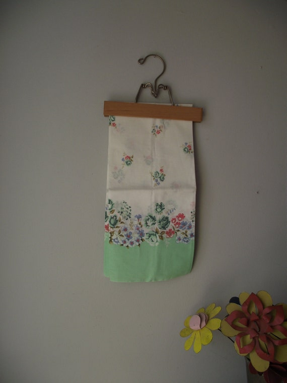 Cotton Pillow Cases Pair in Mint Green Floral