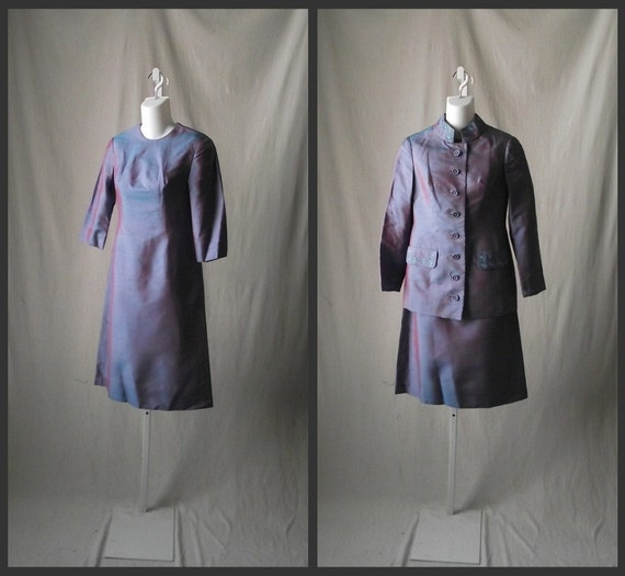 1960s Sharkskin Dress and Jacket Mod Violet and Aqua with Daisy Trim Small Extra Small