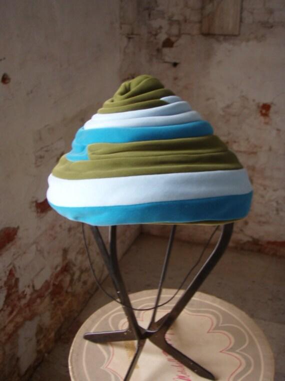 Vintage 1960s Hat Aqua Olive Baby Blue Stripe Tiered Velvet