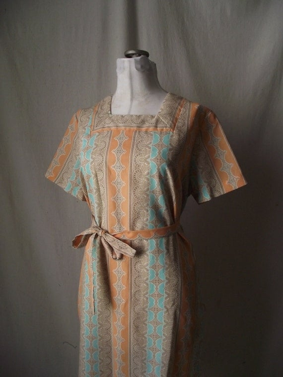 1960s Shift Dress Large in Coral Peach and Aqua Blue