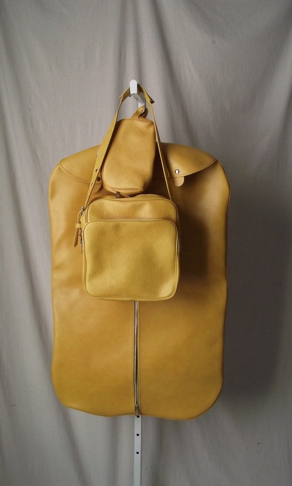 1970s Luggage Set Carry On Trio Tote Bag Suit Bag Toiletries Bag in Mustard