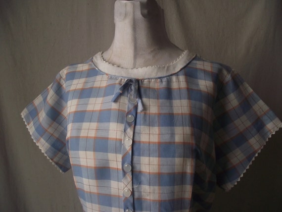 1960s Day Dress Vintage Blue and White Check Plus Size Extra Large