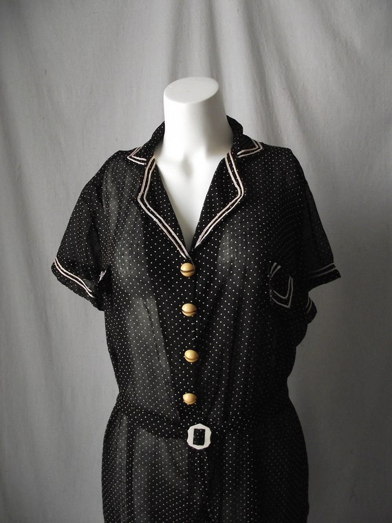 1940s Polka Dot Sheer Black Slip Dress Celluloid Buttons Plus Size