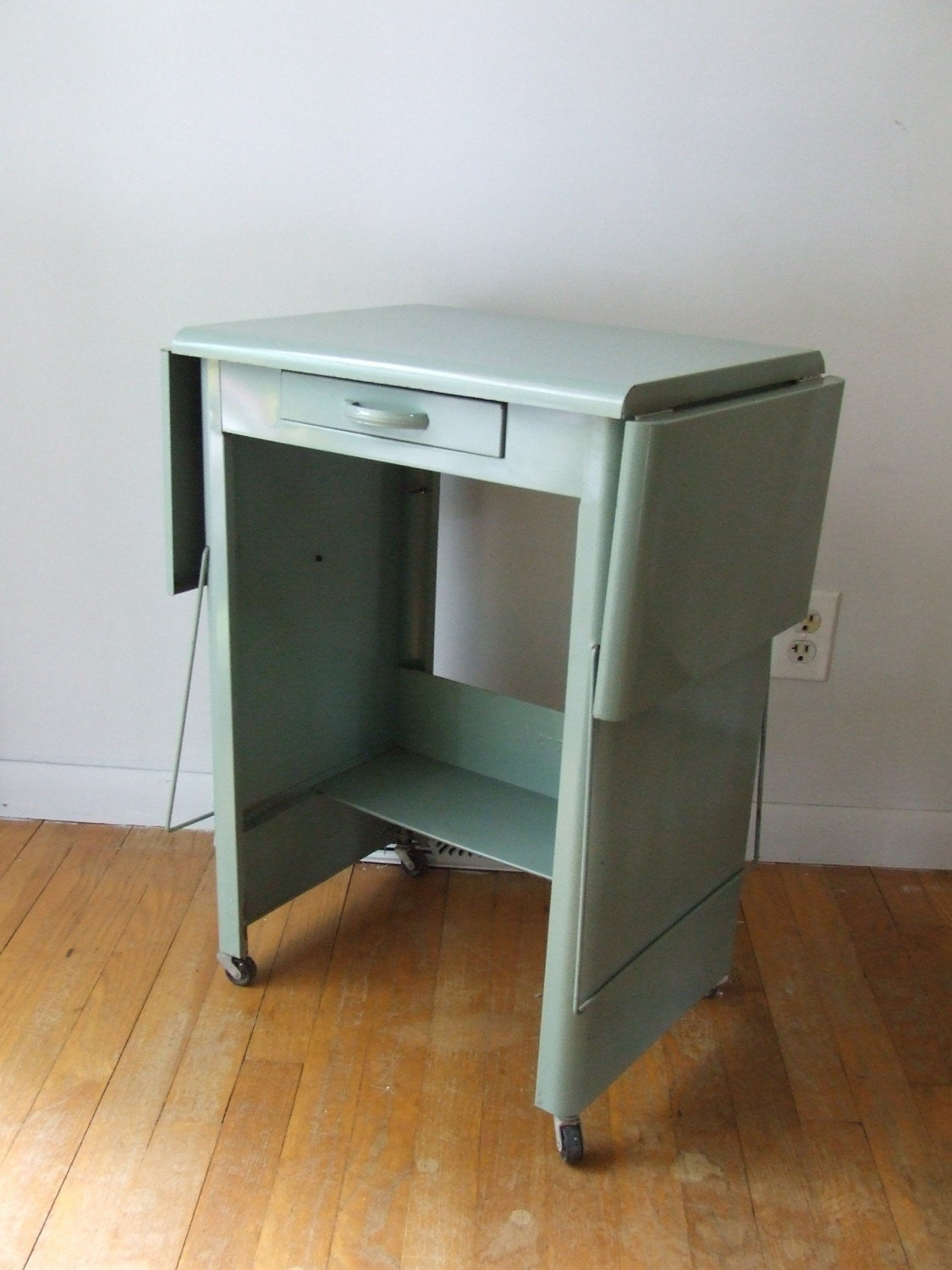 Metal Bedside Table Medical Cart Industrial Metal Mint Green