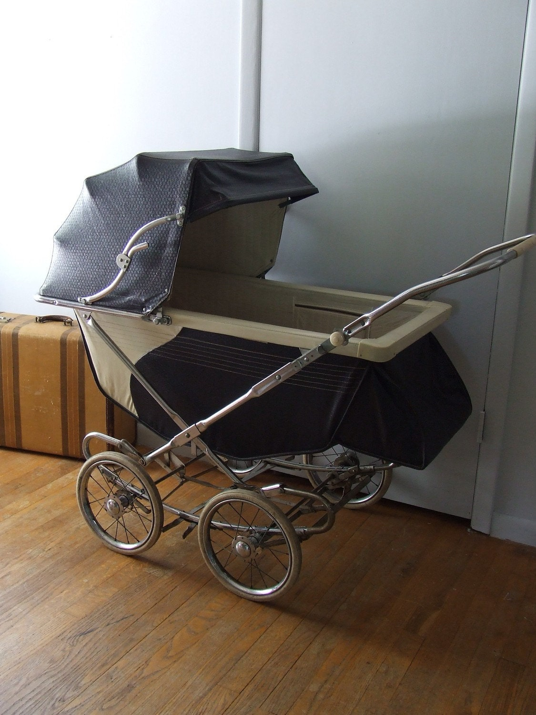 1955 Vintage Stork Line Pram Baby Stroller Buggy Navy Blue And