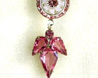 Angel's Wings, pretty swarovski crystal earrings, pink earrings