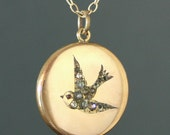 1940's Bird Locket Necklace