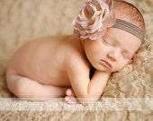 Vintage Style Rose Flower Headband. Baby Headband. Newborn Headband. Infant Headband. Photography Prop. Stretchy Headband