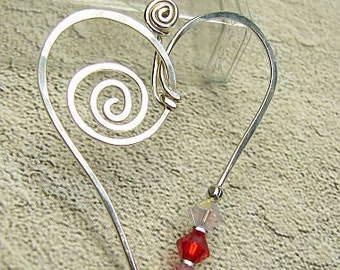handmade OOAK sterling silver wire and crystal heart pendant all hand shaped
