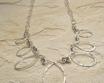 OOAK handmade sterling loop necklace forged hammered textured artistic