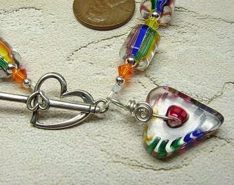 handmade OOAK art glass, crystals, sterling bracelet crayon hearts