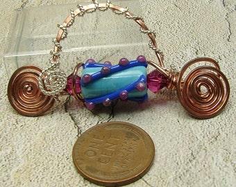 Handmade, OOAK copper, sterling and lampwork fibula pin