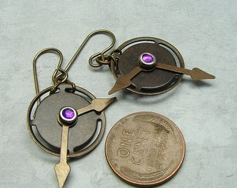 handmade steampunk brass earrings Mechanical Time