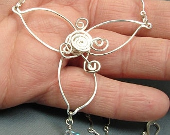 handmade OOAK sterling silver flower necklace with crystal drop
