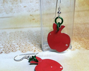 recycled tin apple earrings teachers cute red salvaged reused