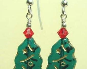 SALE -8.00- bucks christmas bead earrings sterling crystal red and green