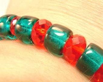 SaLe! -only 12.99 bucks, orig 20!- Christmas bracelet  firepolish and vintage roller beads in time for Santa's big day