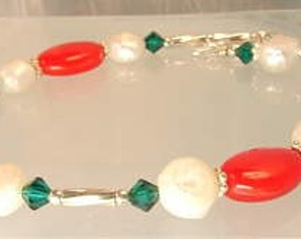 SALE! orig 20.00 now only 12.99 bucks! HoLiDaY bRaCeLeT with pearls, sterling and crystals oh my...........