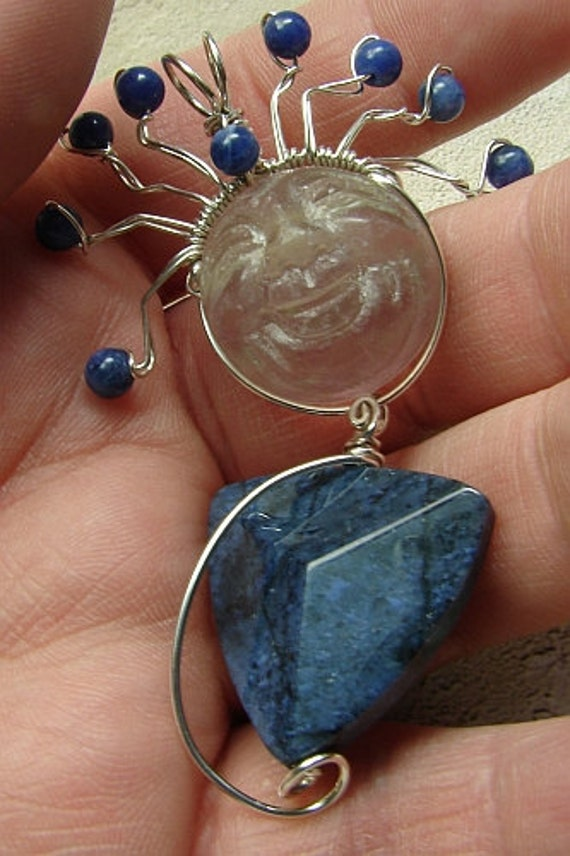 handmade OOAK blue and sterling pendant  titled Best Hair Day