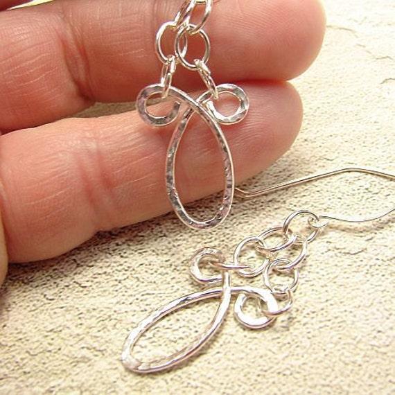 OOAK forged sterling silver loop earrings on handmade earwires