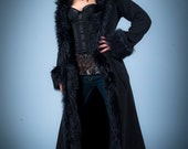 Black Faux Fur Baroness Jacket with Hood