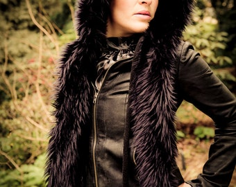 Black Faux Fur Hood Hoodie with Fleece