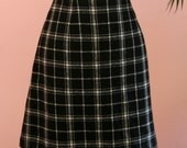 Plaid Skirt, Black and Tan Wool Skirt, Short Skirt, Mini Skirt, Wool Skirt,Black Plaid Skirt, Black Skirt, Size 9/10