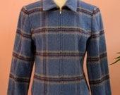 Soft Blue Blazer, Front Zip Blazer, Short Crop Blazer,  Large Plaid Jacket, Baby Blue Jacket, Woman's Outerwear, Dressy Blazer, Size 6P