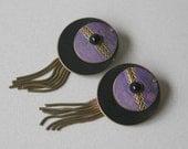Vintage Black and Purple Ecletic Earrings