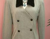 Green Blazer, Fern Green, Fur Collar and Cuffs, Double Breasted Crop Blazer, Ladies Blazer, Size 6, Short Blazer