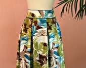 RESERVED Floral Skirt, Tropical Floral Skirt, Silk Skirt, Talbots, Size 6 Petite, Petite Skirt, Turquoise Blue and Green