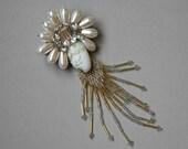 VINTAGE - Crystal and Beaded Brooch Circa 1950