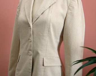 Searsucher Blazer, Tan Blazer, Striped Blazer, Tan and Cream, Woman's Jacket, Petite Blazer, Size 4P