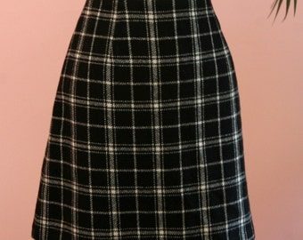 Plaid Skirt, Black and Tan Wool Skirt, Short Skirt, Mini Skirt, Wool Skirt,Black Plaid Skirt, Black Skirt, Size 9/10