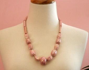 Mauve Ceramic Necklace Circa 1950's, Bold Pink Necklace, Vintage Pink Necklace, Big Bead Necklace, Long Pink Necklace