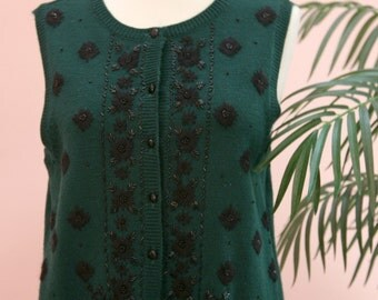 Fern Green Sweater Vest, Beaded Vest, Green Vest, Merino Wool Vest, Size Medium, Button Down Vest, Dressy Knit Vest, Knit Vest