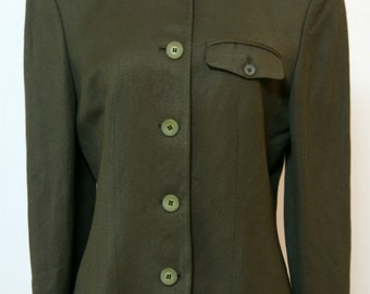Olive Drab Blazer, Liz Clairborne,  Military Style Blazer. Size 6, Green Blazer, Linen Olive Blazer, Woman's Jacket, Work Attire